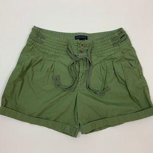 Banana Republic Pleated Tie Waist Shorts 8 Army